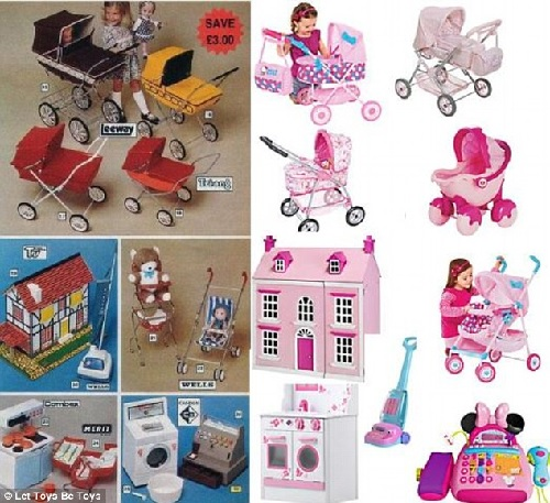 two panels - left shows prams, dollhouses, strollers, washers, vacuums etc in red, yellow, blue, white - right panels shows similar toys all in shades of pink