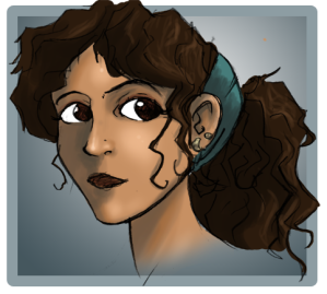 Fan art headshot of hong woman with brown eyes and skin, hair tied up.