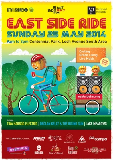 Poster showing cartoon person on bicycle. Text: East Side Ride Sunday 25 May 2014.