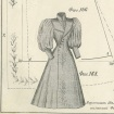 Ink sketch of Victorian lady's coat, Russian text.