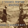 A woman in early twentieth century dress, gazing into a yawning chasm 5000 feet deep, Moran's Point. (c1902-1903) rift