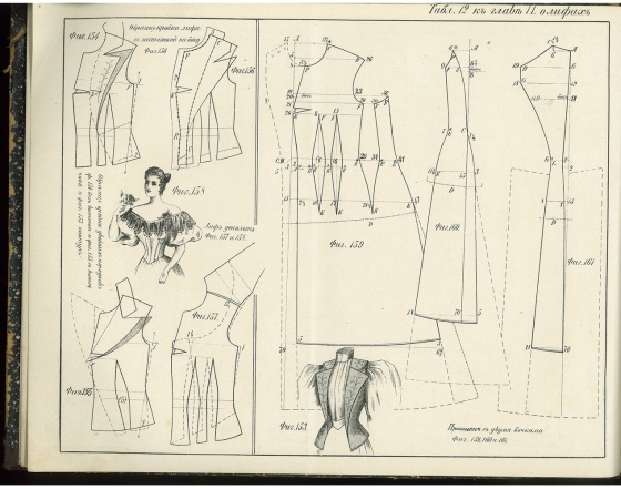 Dress pattern showing evening gown treatment.