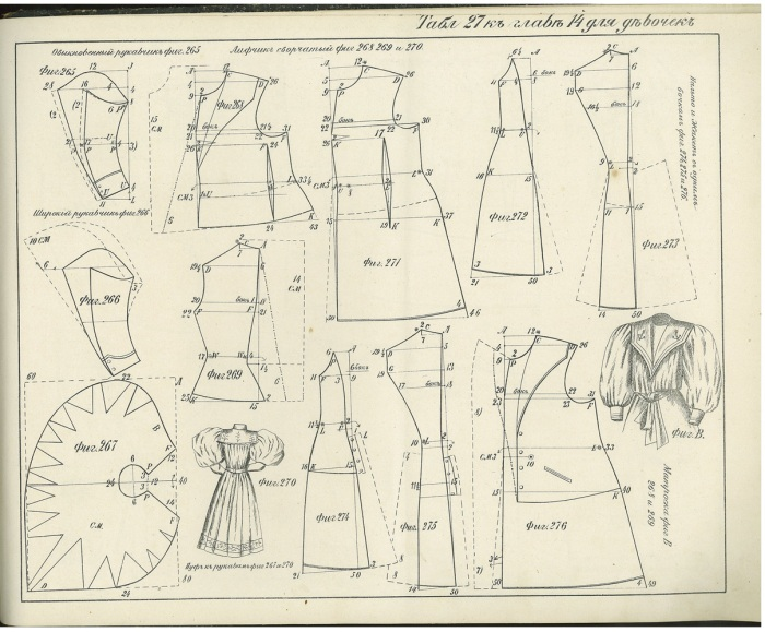 Dress patterns showing sailor-suit dress and sleeve treatments.