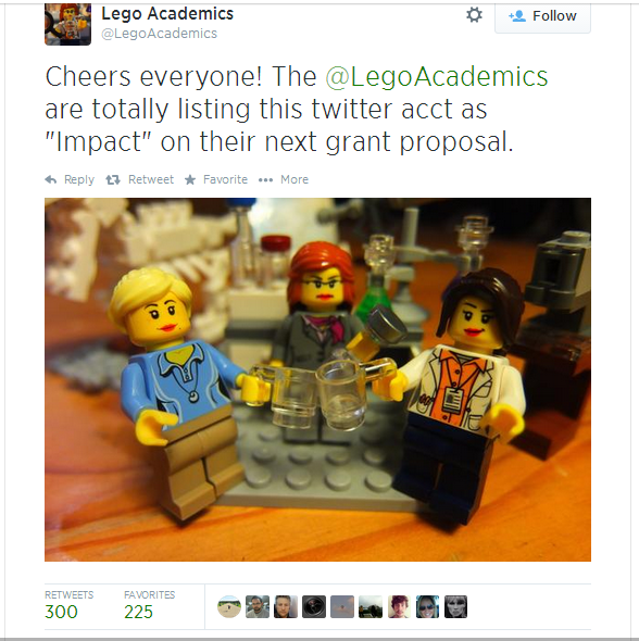3 Female Lego minifigs. Text: Cheers everyone! The @LegoAcademics are totally listing this as 'impact' on their next grant proposal.