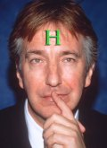 Alan Rickman photoshopped with an H on his forehead like the holograms in Red Dwarf