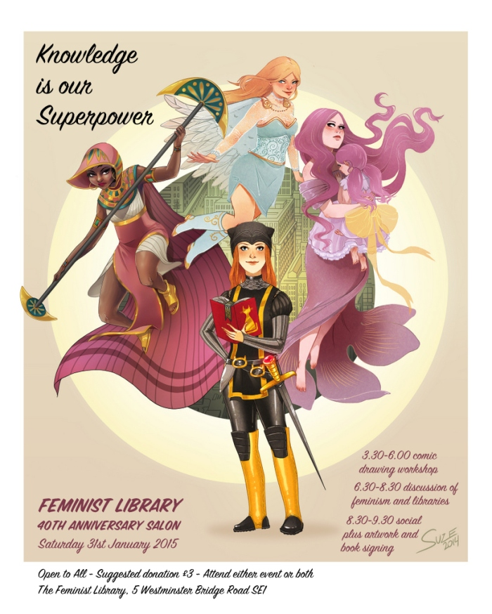 Poster advertising event, cartoon of four women of different races in widely varying outlandish costumes.