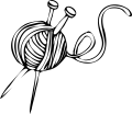 Line drawing of ball of yarn with a pair of knitting nedles stuck through it
