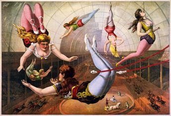 lithograph of circus trapeze artists