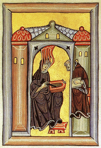 Medieval painting of a nun writing on a tablet, attended by a monk.