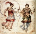 Renaissance inkwash drawing of two young women in costume.