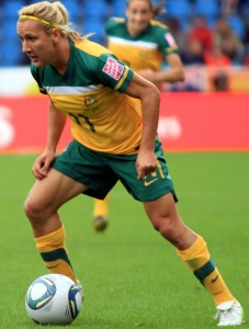 Close up shot of Lisa De Vanna in a 2011 World Cup match