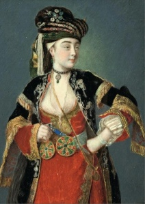 Painting of young woman in Ottoman Empire garb.