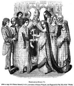 Medieval line drawing of a royal wedding.