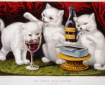 Lithography published by Currier & Ives portraying three kittens at a party where they are enjoying food and wine on a table..