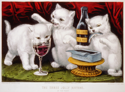 Lithography published by Currier & Ives portraying three white kittens at a party where they are enjoying food and wine on a table: sourced from Library of Congress