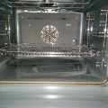 The inside of a recently cleaned oven