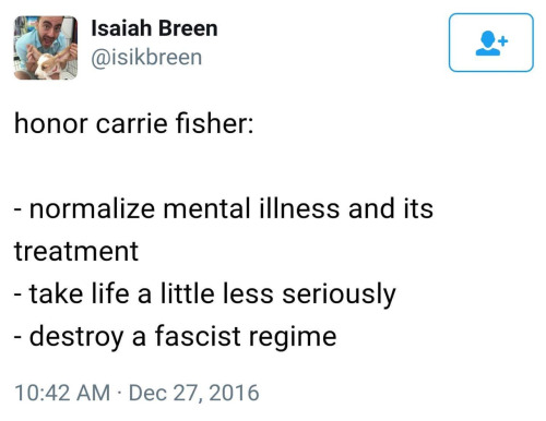 screencap of tweet in remembrance of Carrie Fisher