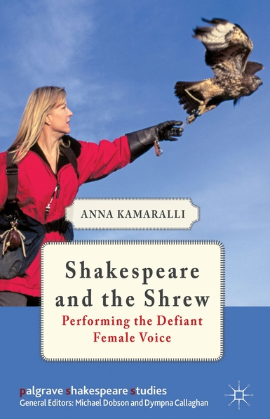 Book cover showing woman releasing falcon. Text: Shakespeare and the Shrew